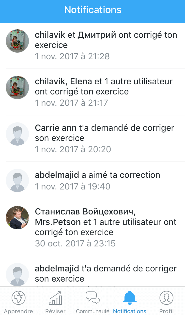 Corrections exercices Busuu