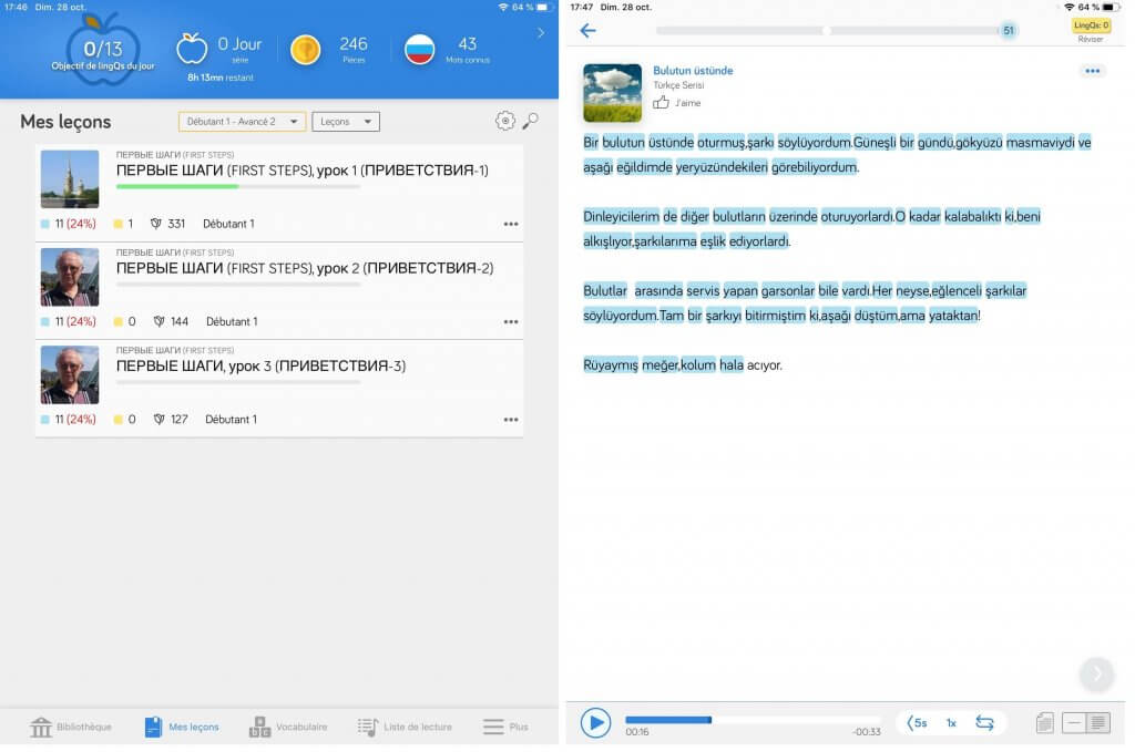 LingQ application langue