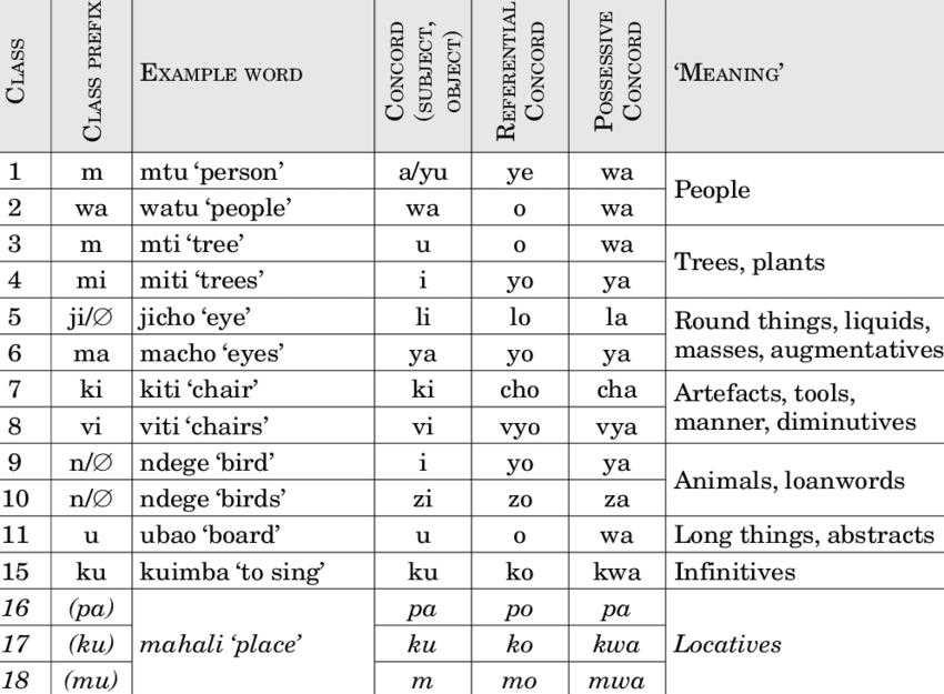 Classes noms Swahili